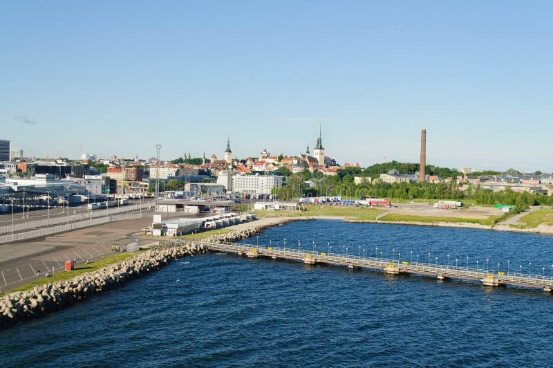 Tallin, Estonia harbor. Tallin, Estonia-July 07, 2017: View of the Harbor at Tallin, Estonia as a cruise ship is arriving in the harbor stock photos