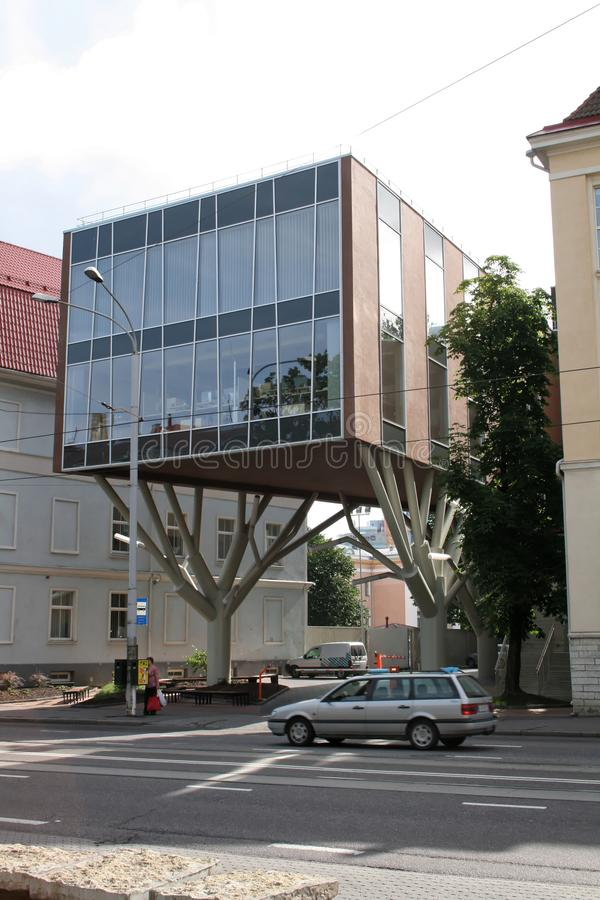 Tallin, Estonia. Modern building on supports. royalty free stock photos