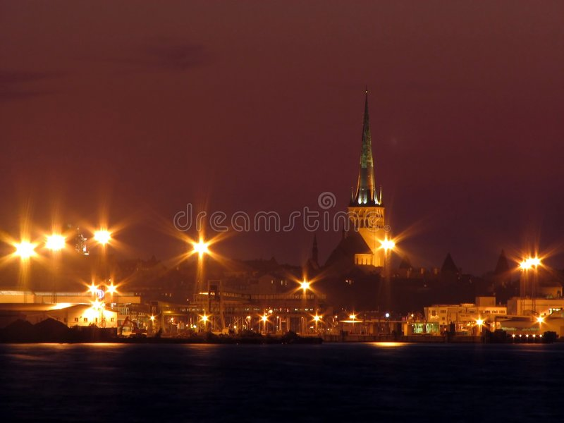 Tallin at night stock images