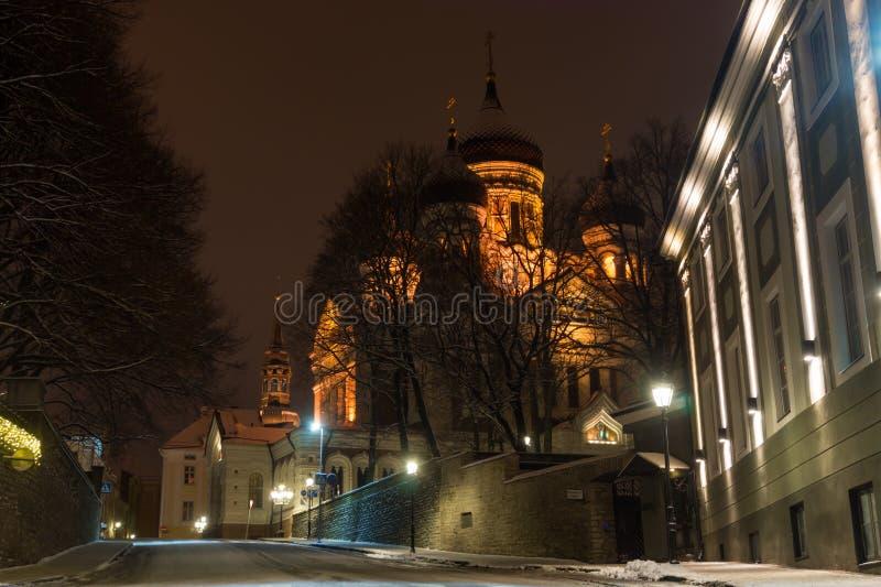 Tallinn Aleksander Nevski Cathedral at Winter Night. Tallinn OLd Town Street with View on Aleksander Nevski Cathedral at Winter Night, Rstonia royalty free stock image