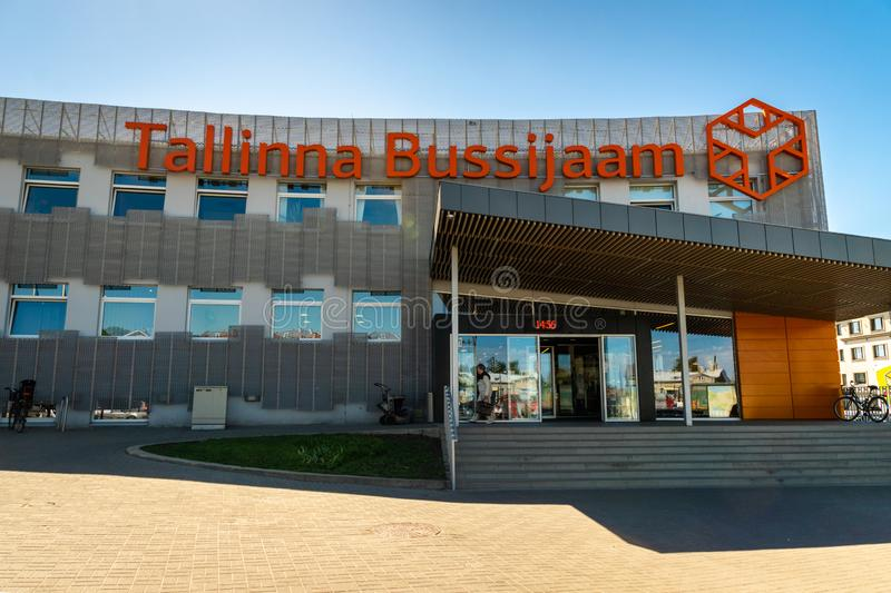 Tallinn Central Bus Station, main long-distance coach station of Tallinn, Estonia. Tallinn, Estonia - June 2018: Tallinn Central Bus Station, main long-distance stock images