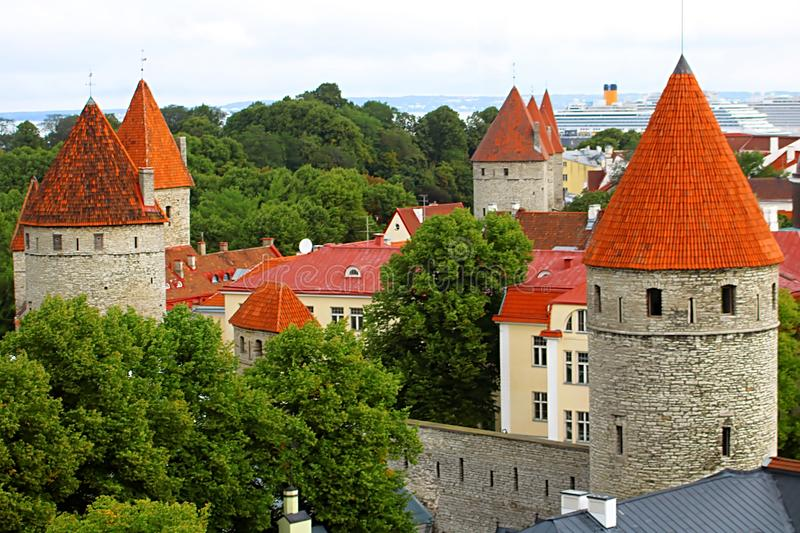 Tallinn city wall of old town. Aerial view of Tallinn skyline, Estonia royalty free stock photos