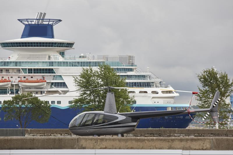 Tallinn cruise harbor with vessel and helicopter. Travel Estonia stock photo