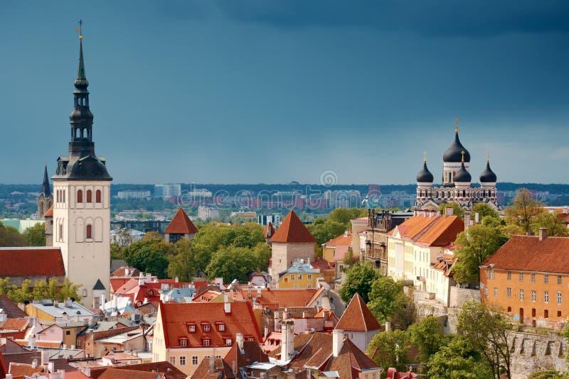 Tallinn da sopra, l'Estonia fotografie stock libere da diritti