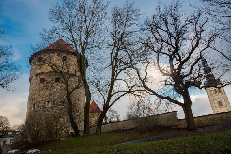 Tallinn, Estônia: Igreja de São Nicolau ', kirik de Niguliste Kiek em de Kok Museu e em túneis do bastião no defensivo medieval d foto de stock