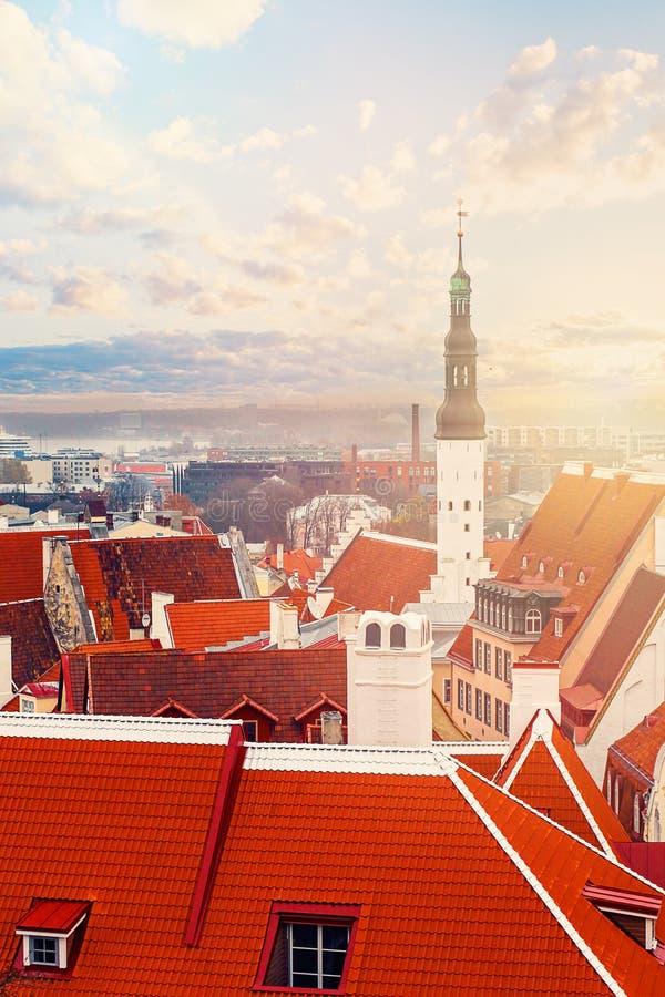 Tallinn Est?nia Panorama da cidade com céu azul e nuvens Igreja do Espírito Santo, da igreja luterana e do centro histórico fotos de stock
