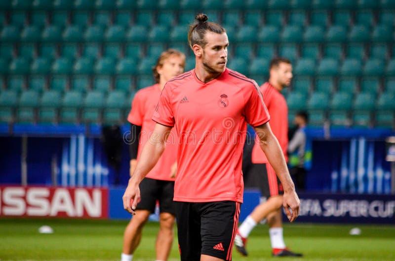 TALLINN, ESTLAND - 15. August 2018: Gareth Bale von Real Madrid lizenzfreies stockbild