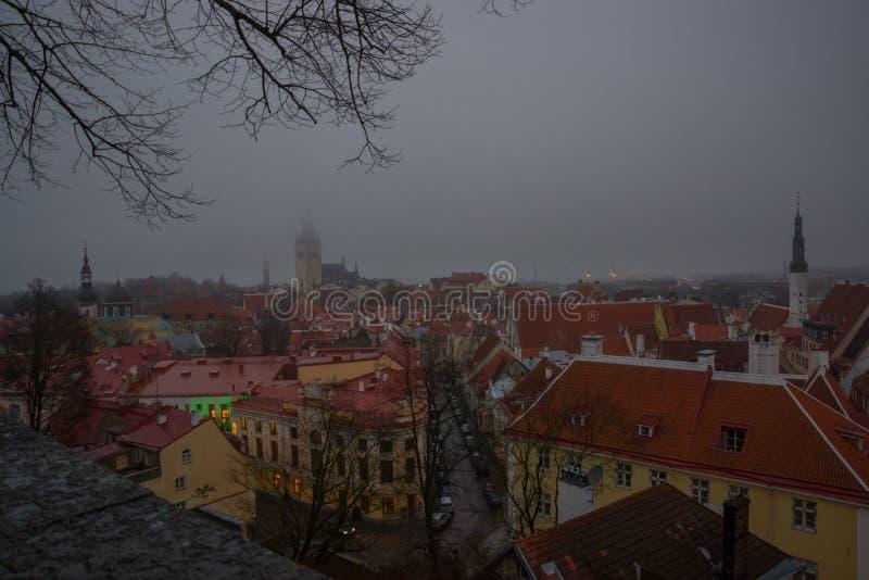 Tallinn, Estland: Luchtcityscape met Middeleeuwse Oude Stad, Landschap met een panorama van de stad in mistig en somber weer stock afbeelding