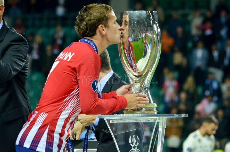 TALLINN, ESTONIA - 15 agosto 2018: UEFA di bacio di Antoine Griezmann fotografie stock libere da diritti