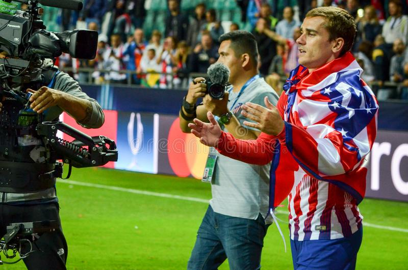 TALLINN, ESTONIA - 15 August, 2018: Antoine Griezmann celebrate. The victory by winning the UEFA Super Cup 2018 after the final 2018 UEFA Super Cup match royalty free stock photo
