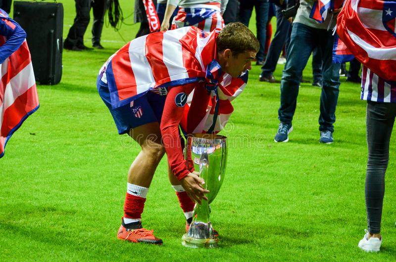 TALLINN, ESTONIA - 15 August, 2018: Antoine Griezmann celebrate. The victory by winning the UEFA Super Cup 2018 after the final 2018 UEFA Super Cup match royalty free stock images