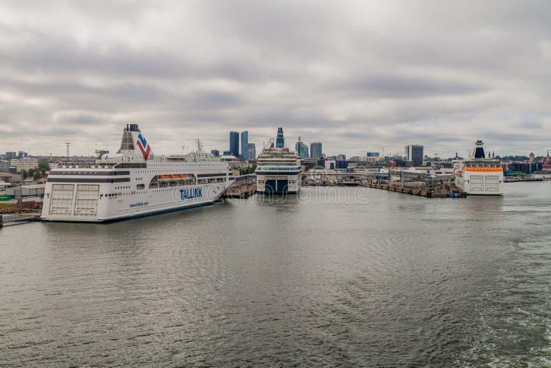 TALLINN, ESTONIA - AUGUST 24, 2016: Cruiseferries in a harbor of Tallin. N royalty free stock photography
