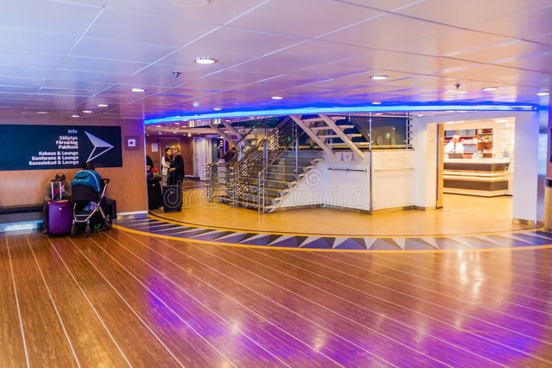 TALLINN, ESTONIA - AUGUST 24, 2016: Deck of MS Finlandia cruiseferry owned and operated by the Finnish ferry operator. Eckero Line in the harbor of Tallinn. The royalty free stock photo