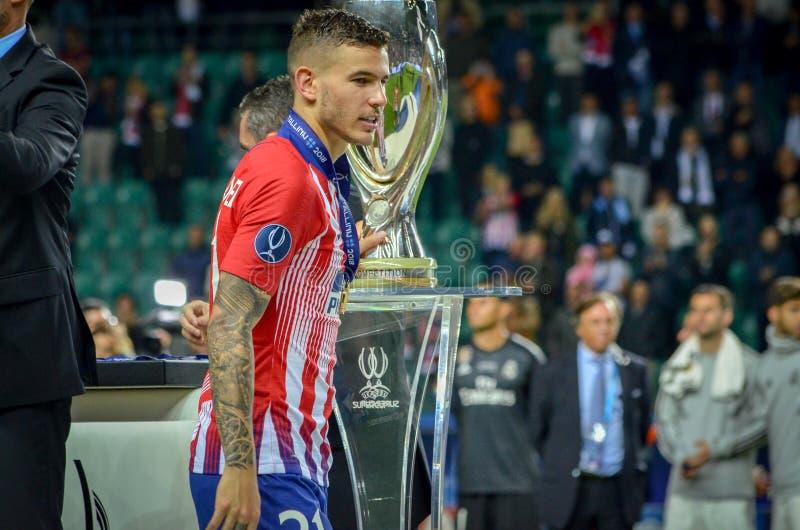 TALLINN, ESTONIA - 15 August, 2018: Lucas Hernandez receive gold royalty free stock photo