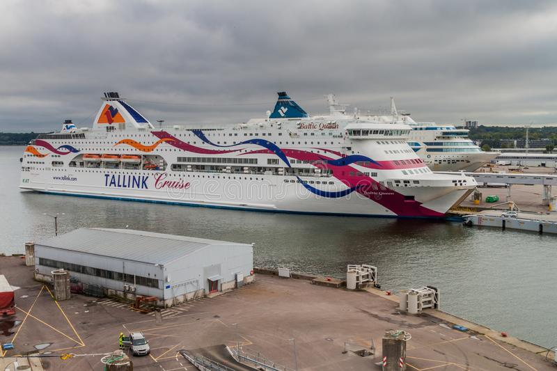 TALLINN, ESTONIA - AUGUST 24, 2016: MS Baltic Queen cruiseferry owned by the Estonia-based ferry operator Tallink in a. Harbor in Tallinn stock photos