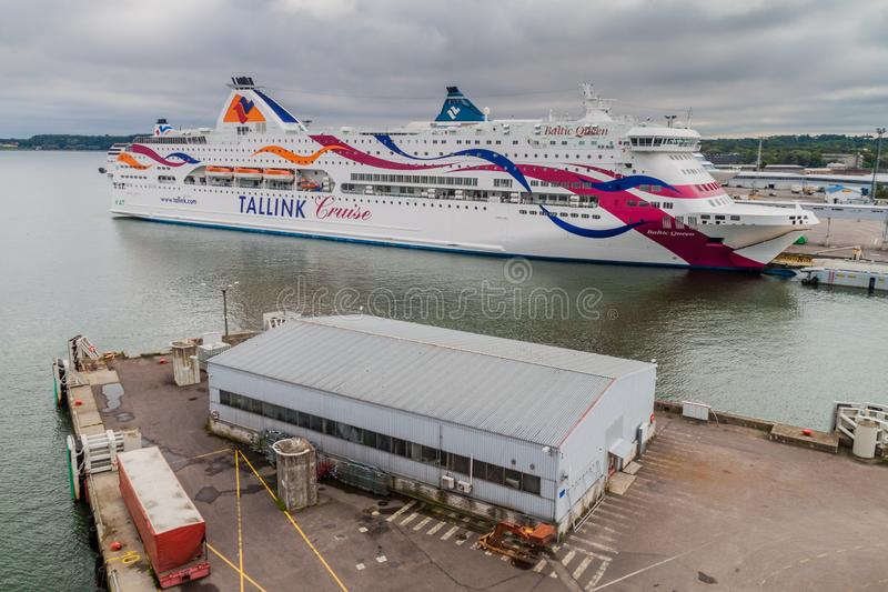 TALLINN, ESTONIA - AUGUST 24, 2016: MS Baltic Queen cruiseferry owned by the Estonia-based ferry operator Tallink in a. Harbor in Tallinn royalty free stock images