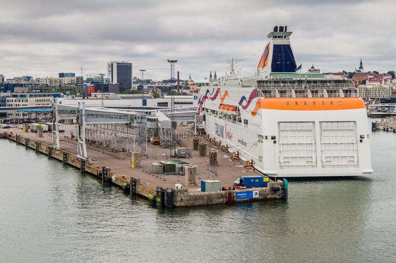 TALLINN, ESTONIA - AUGUST 24, 2016: MS Baltic Queen cruiseferry owned by the Estonia-based ferry operator Tallink in a. Harbor in Tallinn royalty free stock photos
