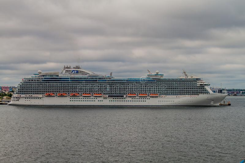 TALLINN, ESTONIA - AUGUST 24, 2016: MS Regal Princess Royal-class cruise ship operated by Princess Cruises in a harbor royalty free stock photo