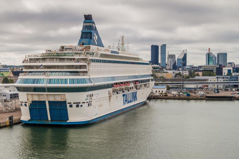 TALLINN, ESTONIA - AUGUST 24, 2016: MS Silja Europa cruiseferry owned by the Estonia-based ferry operator Tallink in a. Harbor in Tallinn stock photo