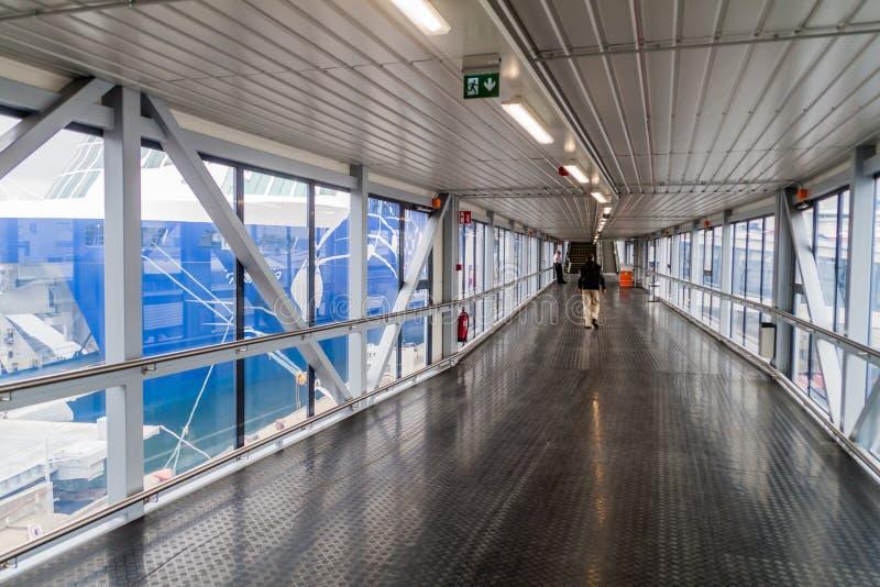 TALLINN, ESTONIA - AUGUST 24, 2016: Passenger boarding bridge at the Passenger Terminal A of a harbor in Tallin. N stock photos