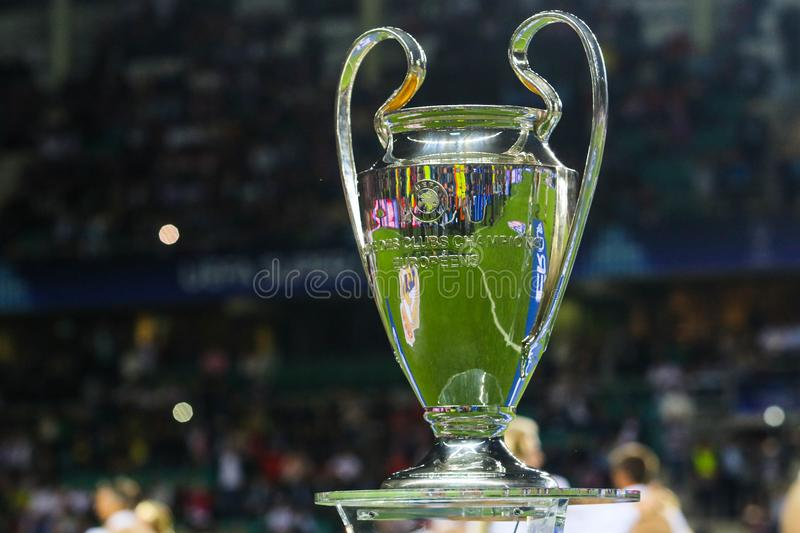 UEFA Champions League Cup. TALLINN, ESTONIA - AUGUST 15, 2018: UEFA Champions League Cup during the match 2018 UEFA Super Cup Real Madrid - Atletico at the stock photo
