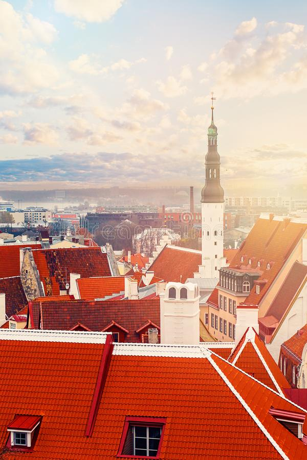 Tallinn. Estonia. City panorama with blue sky and clouds. Church Of The Holy Spirit, Lutheran Church and historical center stock photos