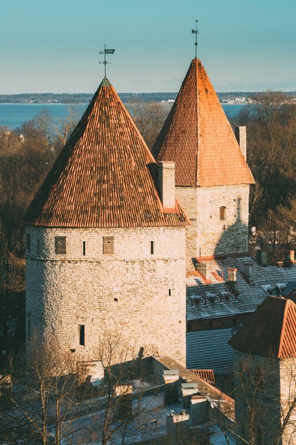 Tallinn estonia Część Tallinn miasta ściana Magdalenki ` s wierza Nunnatorn fotografia royalty free