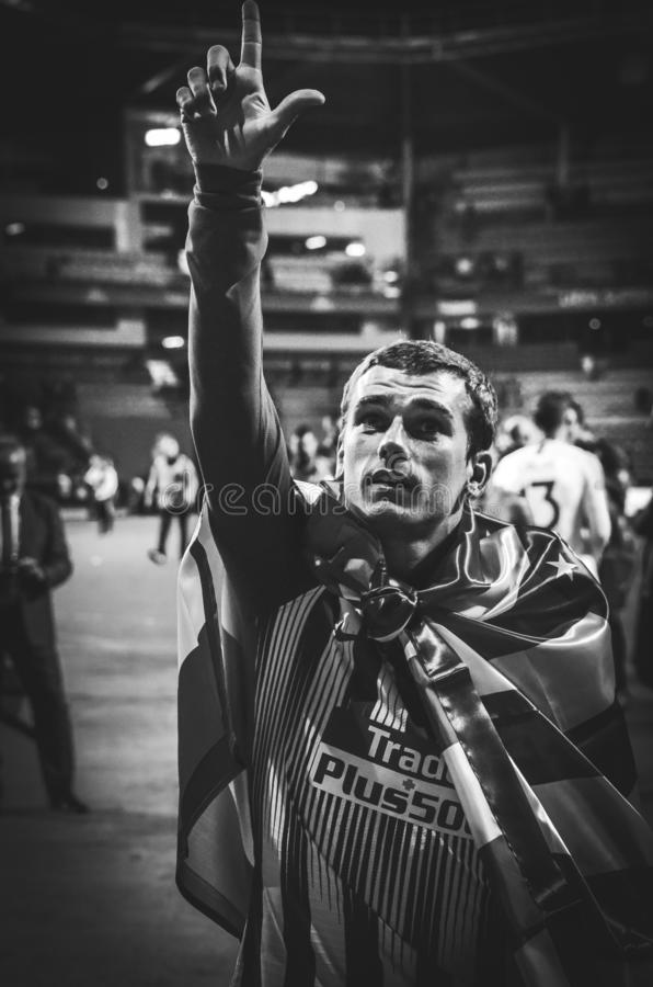 TALLINN, ESTONIA - 15 de agosto de 2018: Antoine Griezmann celebra imagenes de archivo