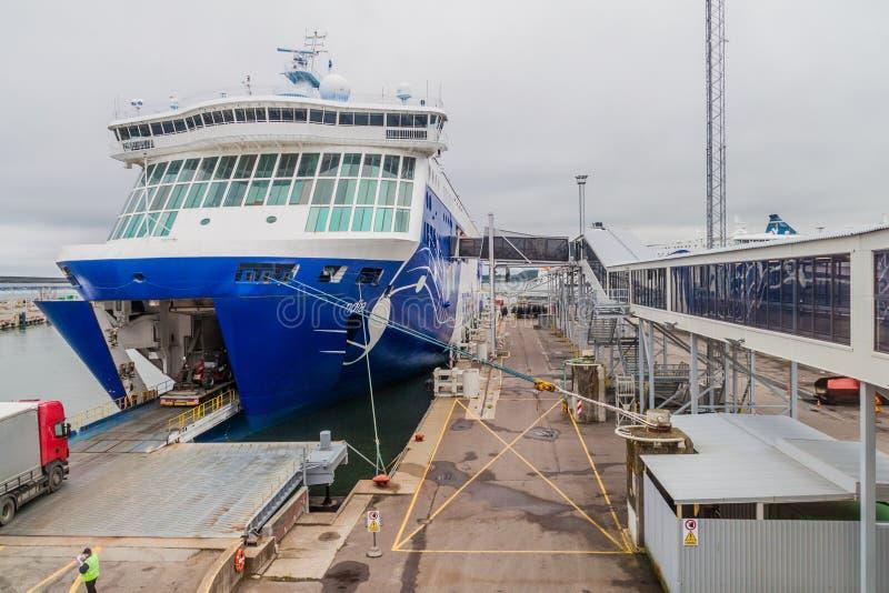 TALLINN, ESTONIA - 24 DE AGOSTO DE 2016: Haber poseído cruiseferry del ms Finlandia y haber actuado por el operador finlandés Eck fotografía de archivo
