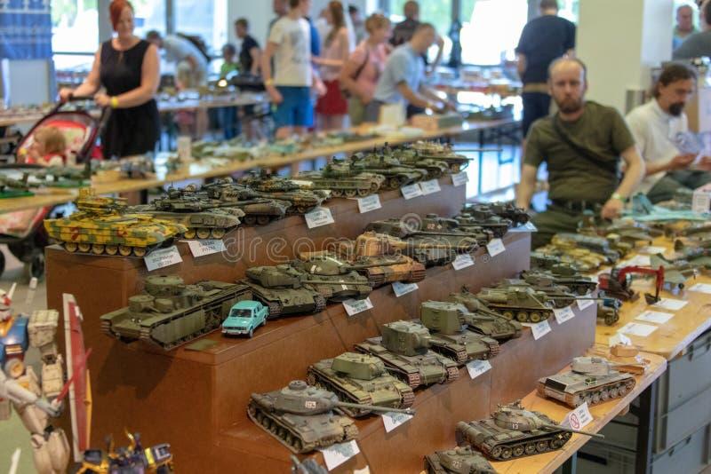 TALLINN, Estonia - 26 DE MAYO DE 2018: Modelo miniatura Exhibition de Tallinn imagen de archivo libre de regalías