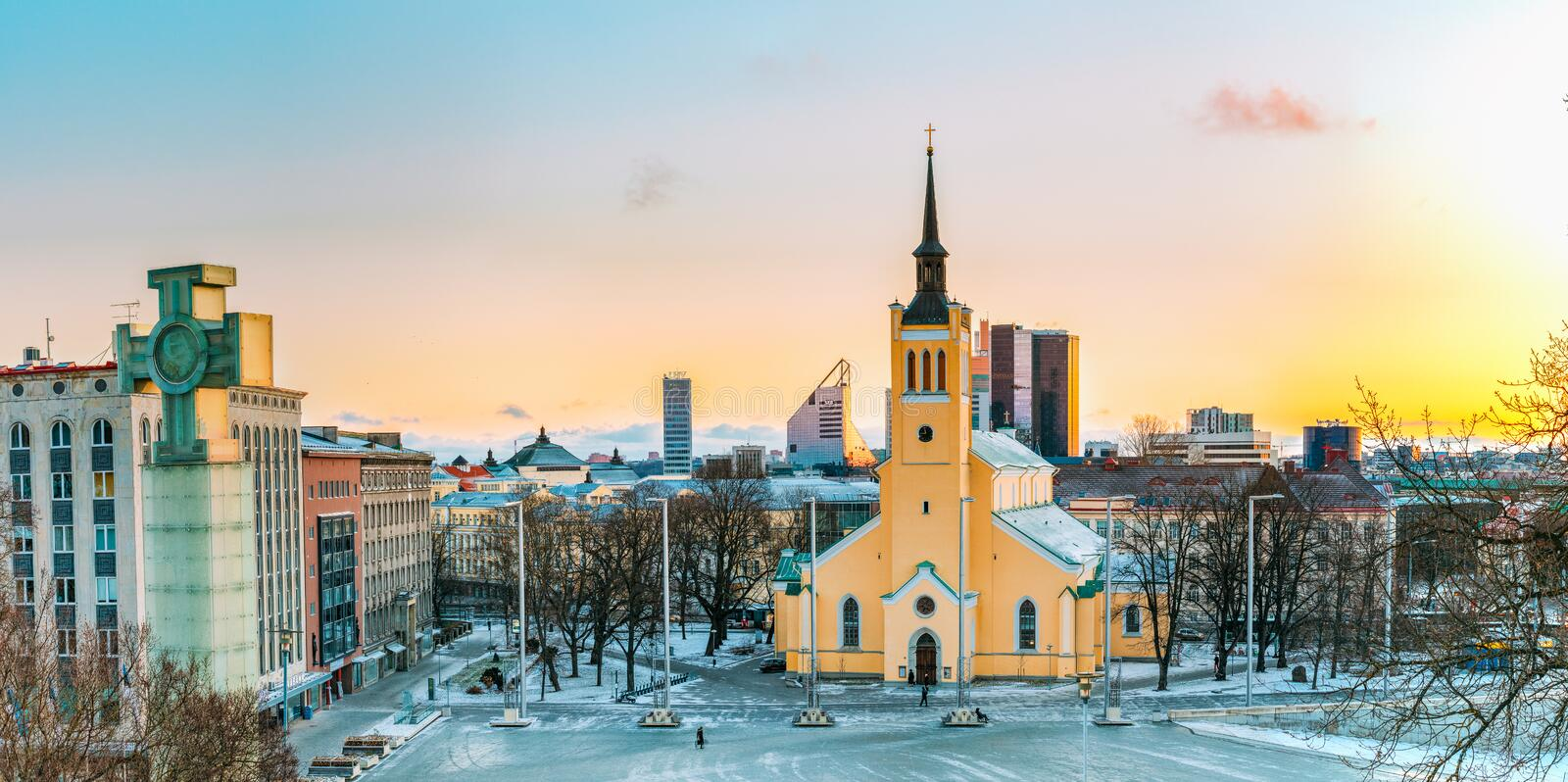 Tallinn, Estonia. Panorama Of Church Of St. John Jaani Kirik At royalty free stock photography