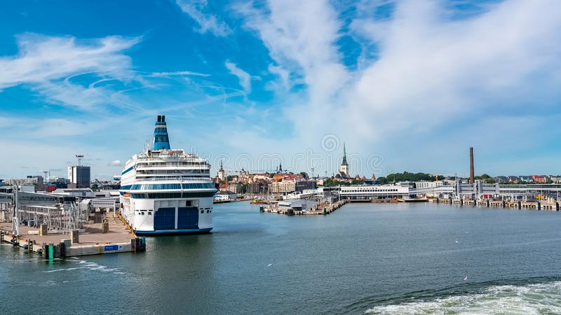 Tallinn in Estonia, harbor. Tallinn in Estonia, panorama of the town and the harbor, view from the sea stock images