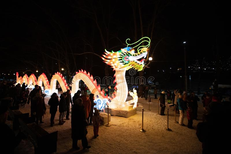 TALLINN, Estonia - January 26, 2019: Lightful statues for celebrating the Chinese Lantern Festival royalty free stock image