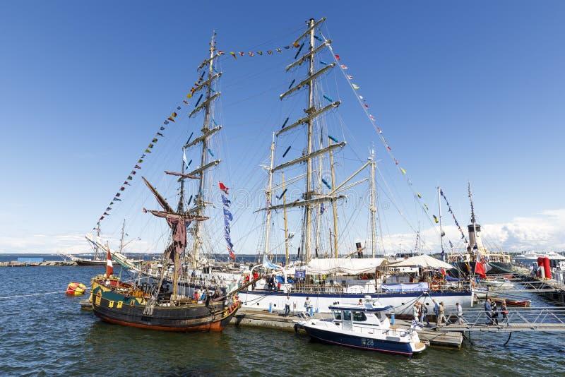 TALLINN, ESTONIA - JULY 18, 2017: Sailing ships in harbor during. Maritime Days in Tallinn, Estonia on July 18, 2017 royalty free stock photography