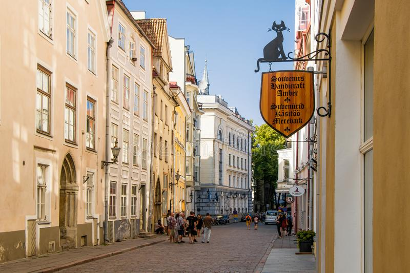 Tourist street in the old city. Tallinn, Estonia stock image