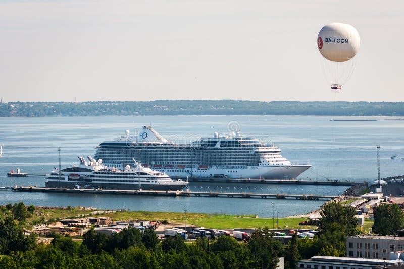 Tallinn, Estonia - June 16, 2018: beautiful white giant cruise ship on stay at harbor.  stock photo