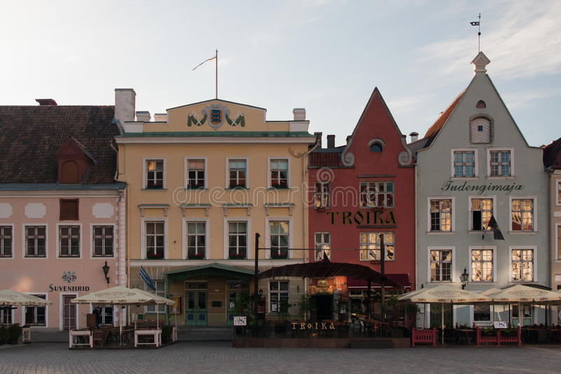 TALLINN, ESTONIA, june 2015: medieval buildings with cafes in t royalty free stock photos