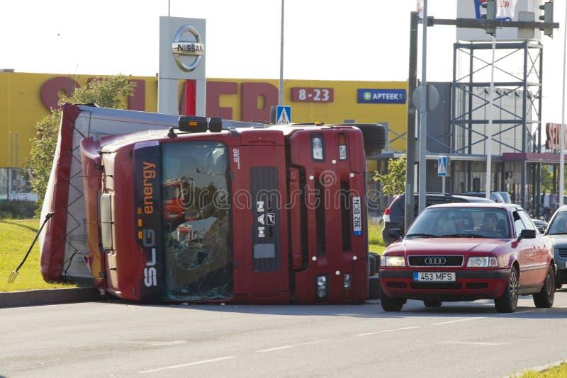 Tallinn, Estonia - June 26: Red Man D20 trailer truck on June26, 2011 in Tallinn, Estonia. Lorry trailer car crash royalty free stock photos