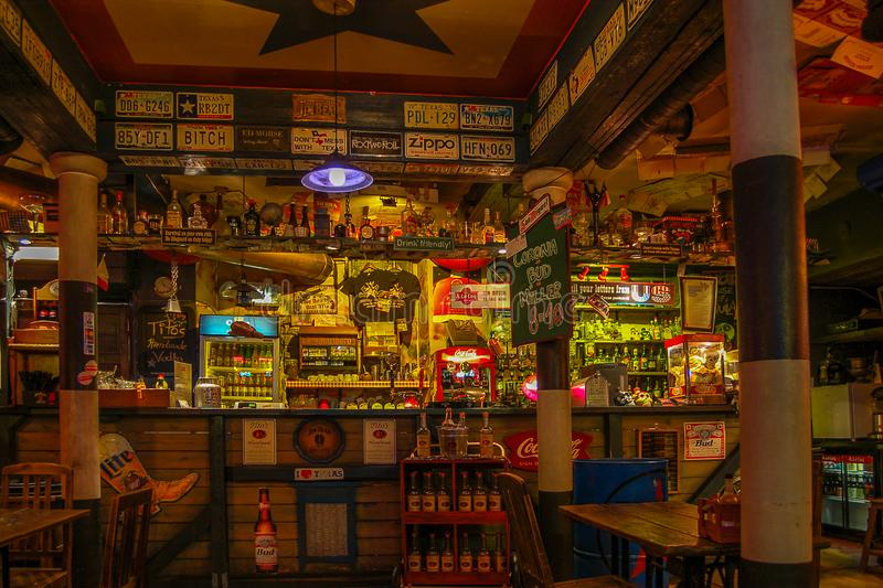 Tallinn, Estonia 02 may 2017. Night bar Texas Honky Tonk Cantina , The view on the bar stock photos