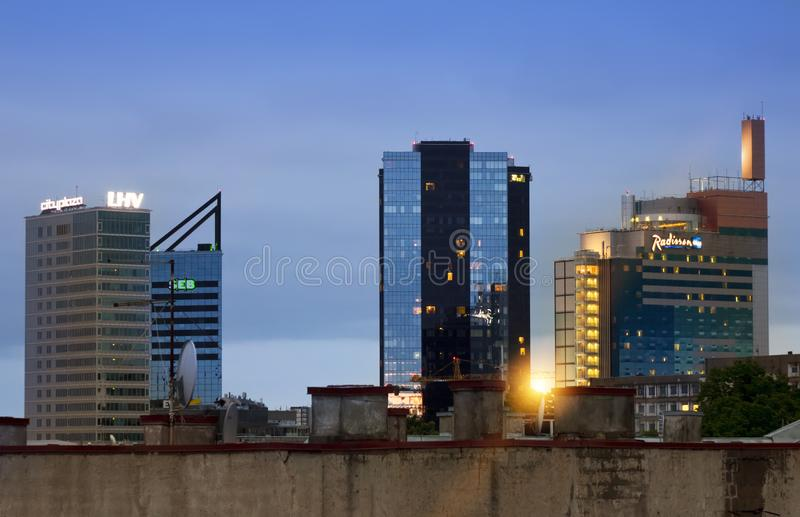TALLINN, ESTONIA- MAY 16, 2016: View of the modern high rise buildings on border with an old part of the city stock photos