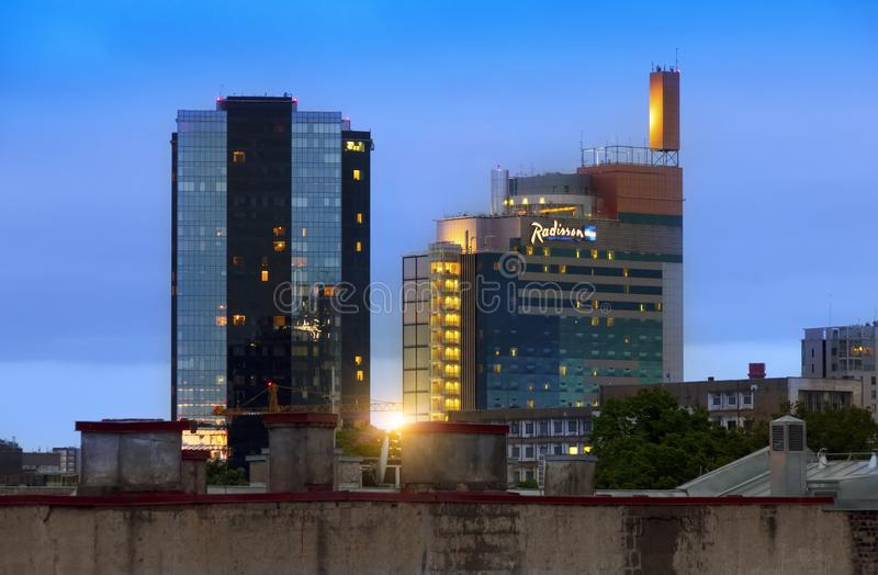 TALLINN, ESTONIA- MAY 16, 2016: View of the modern high rise buildings on border with an old part of the city stock image