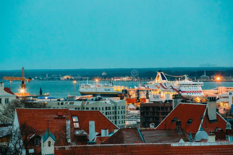 Tallinn, Estonia. Modern Ferry Ferryboat Tallinnk At Pier Awaiti. Tallinn, Estonia - December 3, 2016: Modern Ferry Ferryboat Tallinnk At Pier Awaiting Loading stock photos
