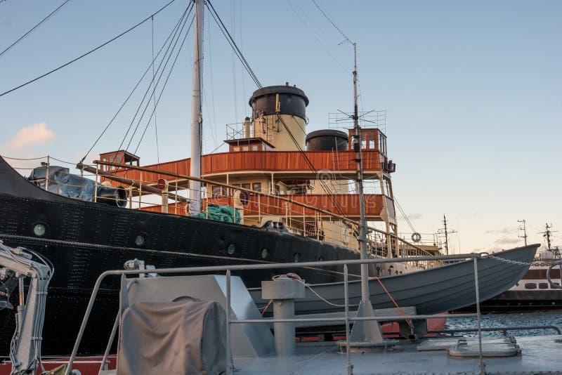 Tallinn, Estonia - November 18, 2018: Deck, captain s bridge of the Suur Toll icebreaker. The icebreaker steamer is part. Of the Tallinn Maritime Museum and is royalty free stock images