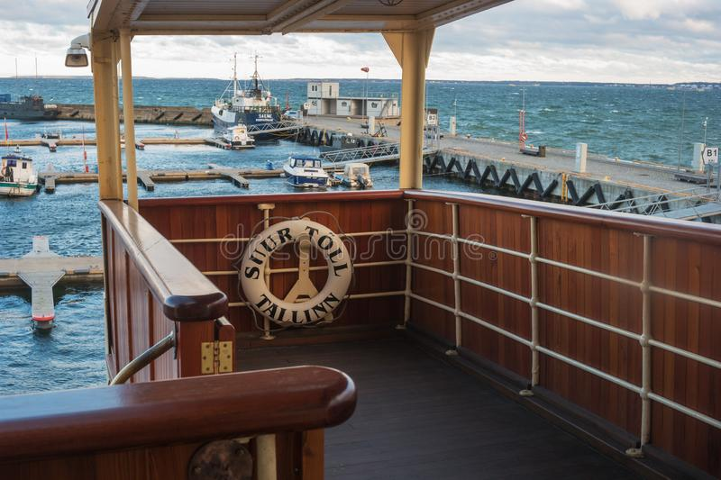 Tallinn, Estonia - November 18, 2018: The observation deck of the icebreaker Suur Toll. The icebreaker steamer is part. Of the Tallinn Maritime Museum and is royalty free stock images