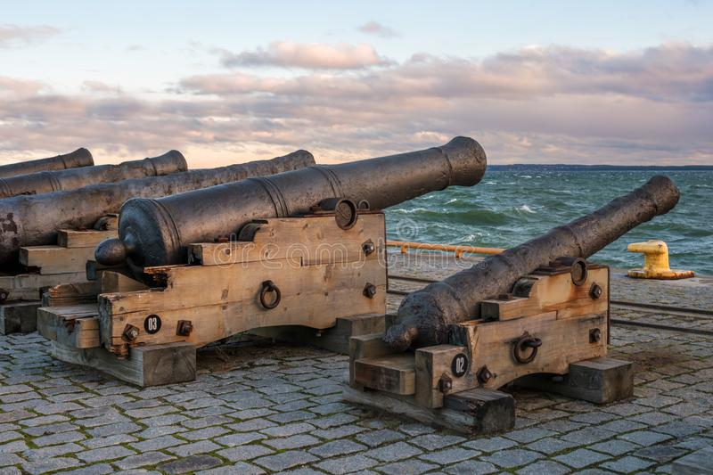 Tallinn, Estonia - November 18, 2018: Old cannons in the Maritime Museum of Tallinn. Cannon on wooden gun carriages stock image