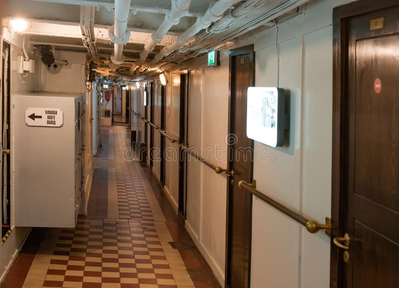 Tallinn, Estonia - November 18, 2018: SIcebreaker Suur Toll.. Corridor and cabins. The icebreaker steamer is part of the. Tallinn Maritime Museum and is based royalty free stock images