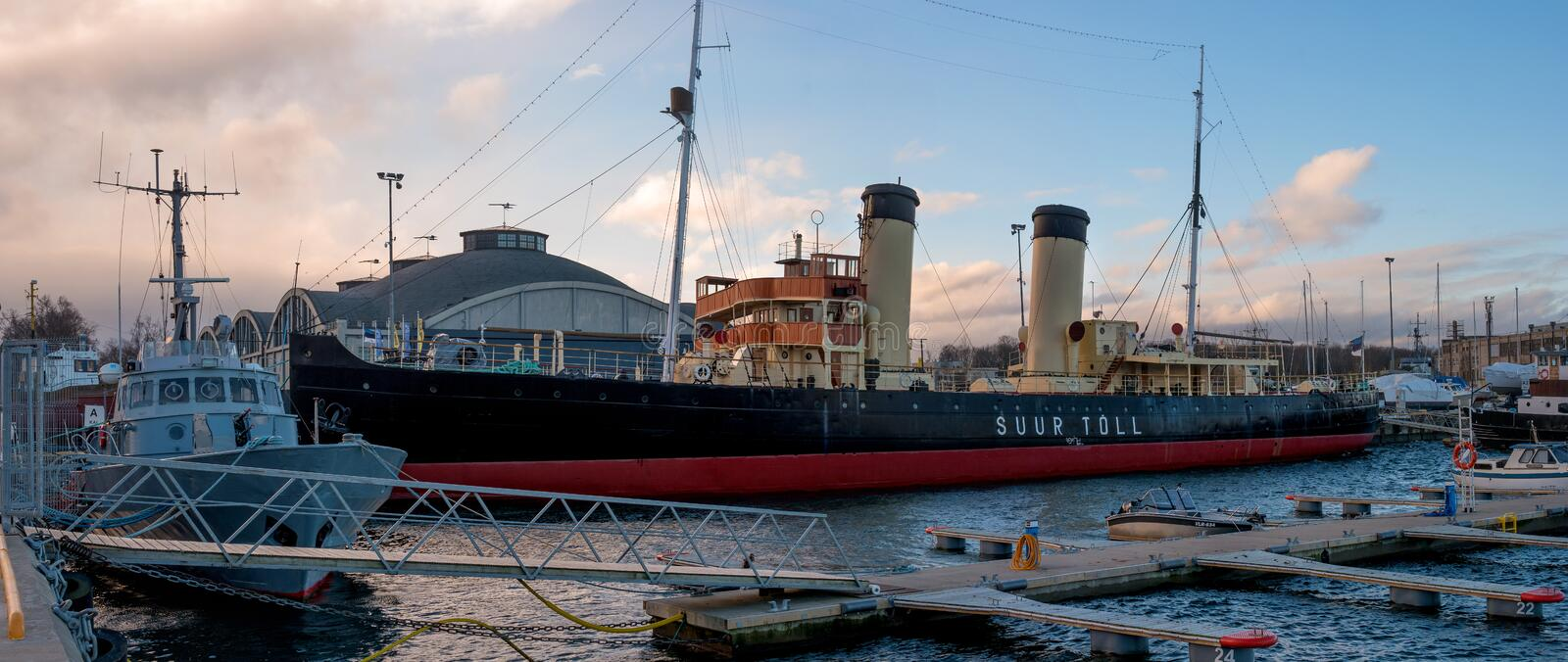 Tallinn, Estonia - November 18, 2018: Suur Toll icebreaker at the pier. The icebreaker steamer is part of the Tallinn. Maritime Museum and is based at the stock photo
