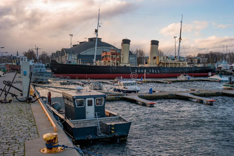 Tallinn, Estonia - November 18, 2018: Suur Toll icebreaker at the pier. The icebreaker steamer is part of the Tallinn. Maritime Museum. Hangars of the Maritime stock photo