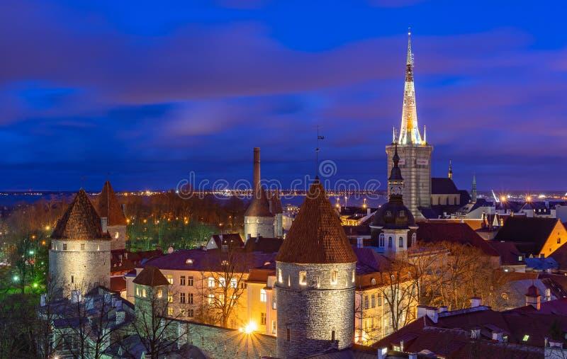 Tallinn, Estonia - 31.10.2019 Old town of Tallinn in Night Time, with long exposure Tallinn, Estonia royalty free stock image