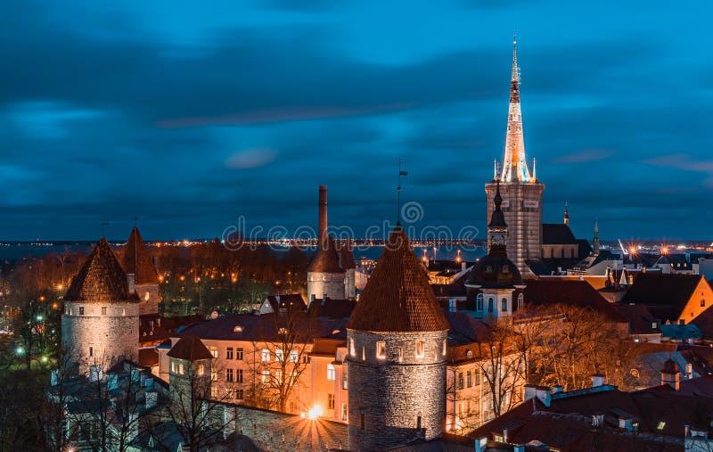 Tallinn, Estonia - 31.10.2019 Old town of Tallinn in Night Time, with long exposure Tallinn, Estonia stock photography